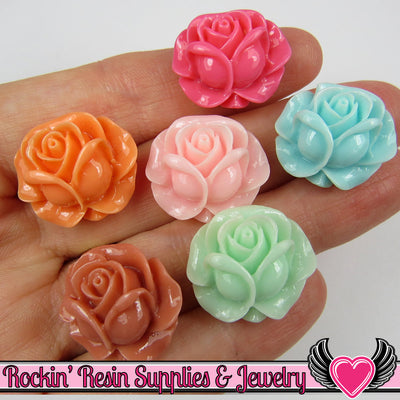 21mm Blooming ROSE CABOCHONS (6 pieces) - Rockin Resin  - 1