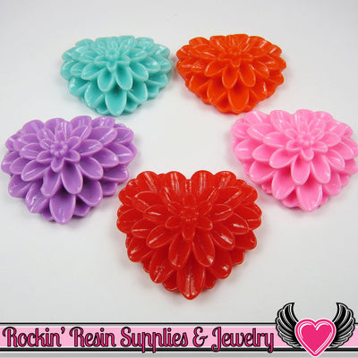 38mm Large Chrysanthemum Heart Resin Cabochons (5 pieces) - Rockin Resin  - 1