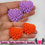 38mm Large Chrysanthemum Heart Resin Cabochons (5 pieces) - Rockin Resin  - 3