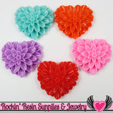 38mm Large Chrysanthemum Heart Resin Cabochons (5 pieces) - Rockin Resin  - 2