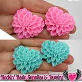 38mm Large Chrysanthemum Heart Resin Cabochons (5 pieces) - Rockin Resin  - 4