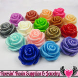 24mm ROSE FLOWER BEADS (6 pieces) or Flatback Flower Cabochons - Rockin Resin  - 2