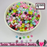 200 pc 4mm AB COLORFUL MiX Half Pearls Flatback Decoden Cabochons - Rockin Resin  - 3