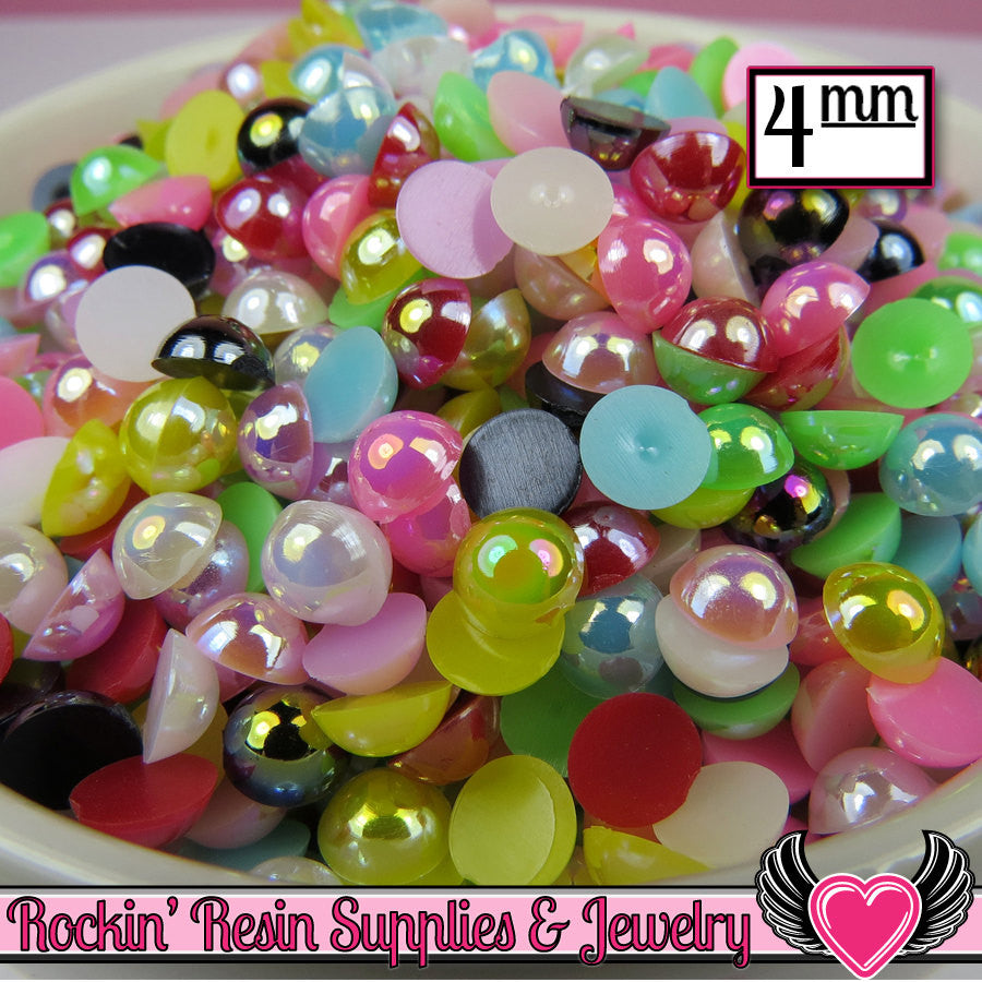 200 pc 4mm AB COLORFUL MiX Half Pearls Flatback Decoden Cabochons - Rockin Resin  - 1