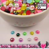 100 pc 8mm AB COLORFUL MiX Half Pearls Flatback Decoden Cabochons - Rockin Resin  - 3