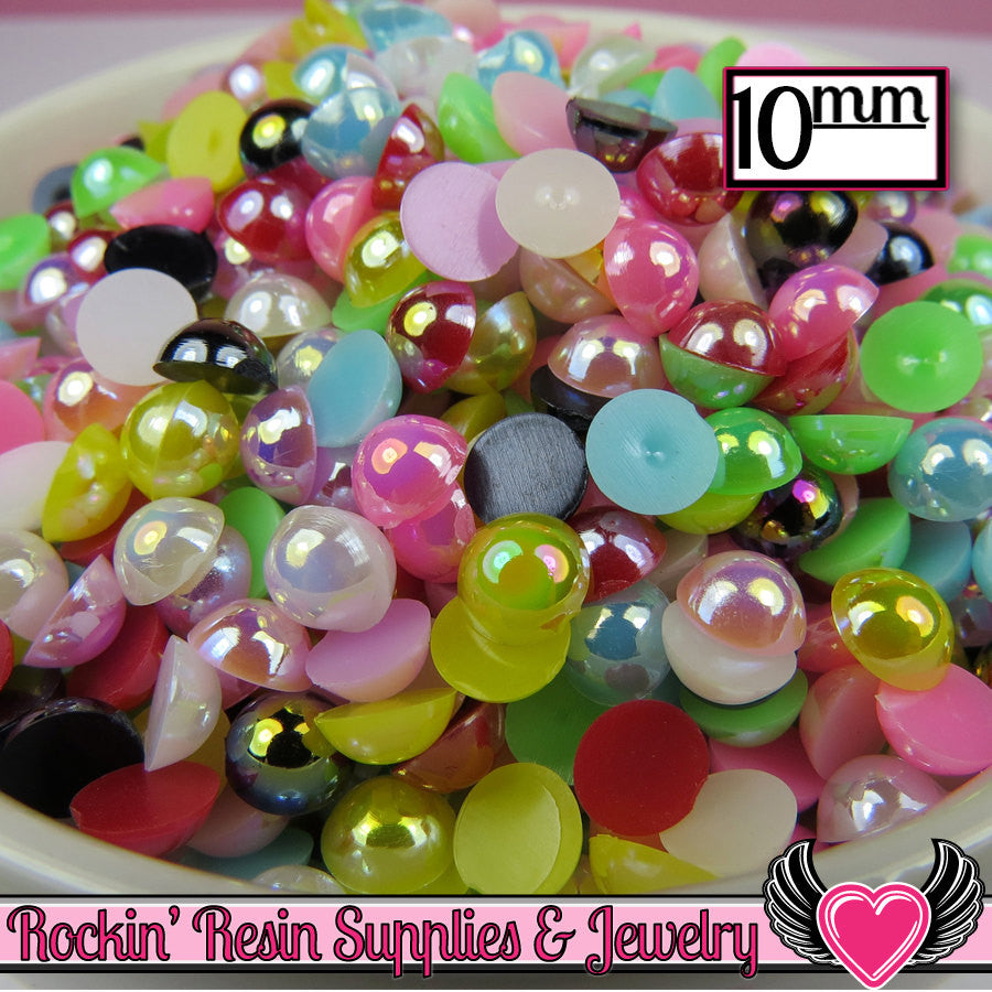 50 pc 10mm AB COLORFUL MiX Half Pearls Flatback Decoden Cabochons - Rockin Resin  - 1