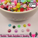 300 pc 3mm AB COLORFUL MiX Half Pearls Flatback Decoden Cabochons - Rockin Resin  - 3