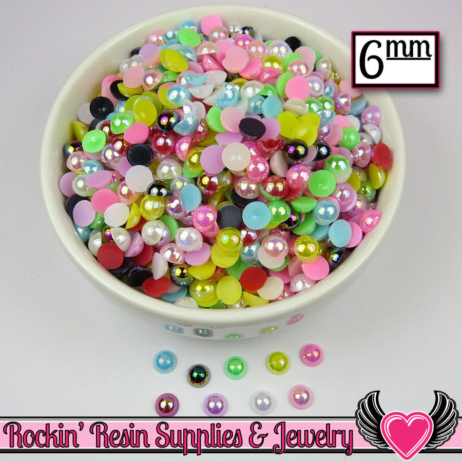 200 pc 6mm AB COLORFUL MiX Half Pearls Flatback Decoden Cabochons - Rockin Resin  - 1