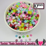50 pc 10mm AB COLORFUL MiX Half Pearls Flatback Decoden Cabochons - Rockin Resin  - 2