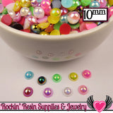 50 pc 10mm AB COLORFUL MiX Half Pearls Flatback Decoden Cabochons - Rockin Resin  - 3