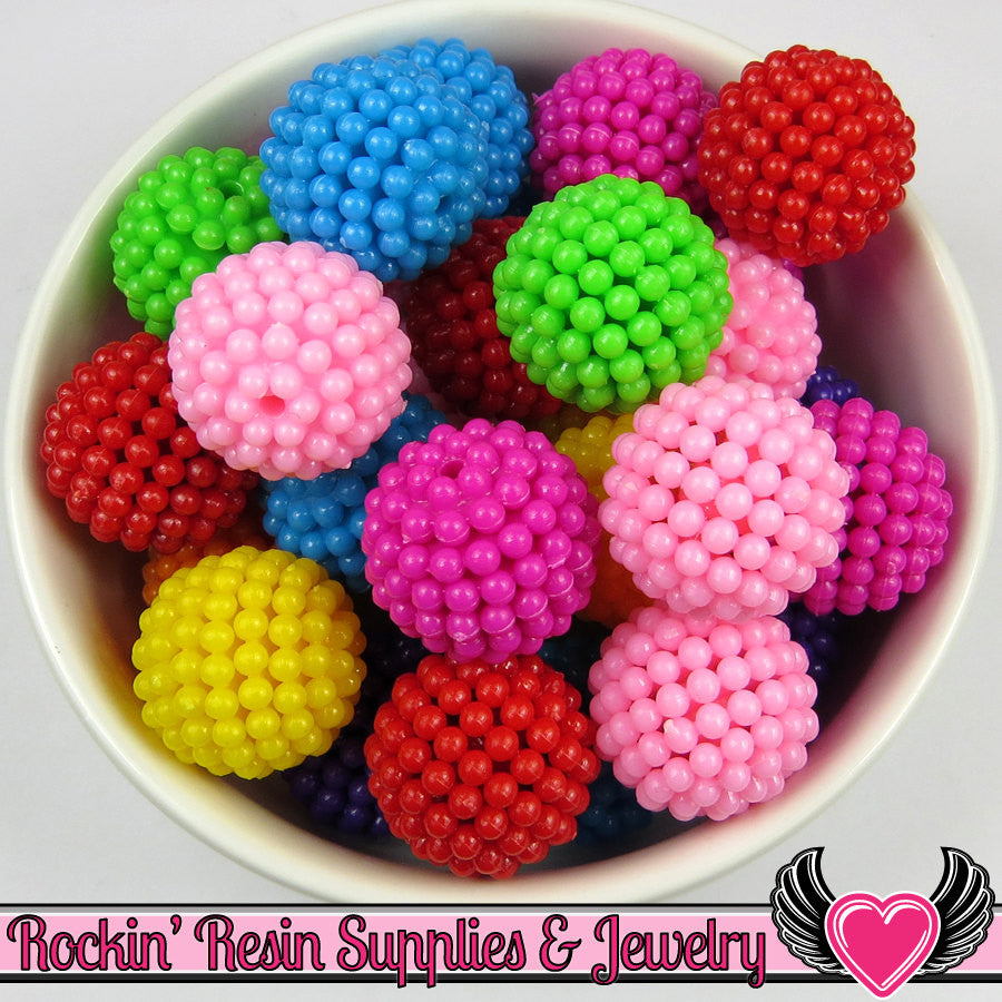 20mm Chunky Berry Beads Bright Mixed Colors (10 pieces)