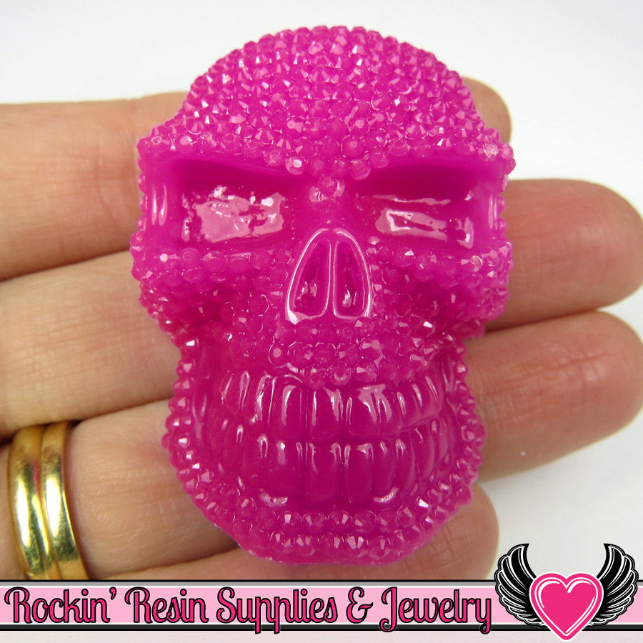 plum purple 50mm XL SKULL Cabochons (2 pc) Faux Rhinestone Halloween Kawaii Cabochon