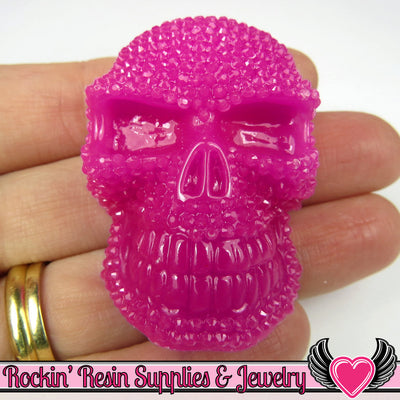plum purple 50mm XL SKULL Cabochons (2 pc) Faux Rhinestone Halloween Kawaii Cabochon - Rockin Resin  - 1