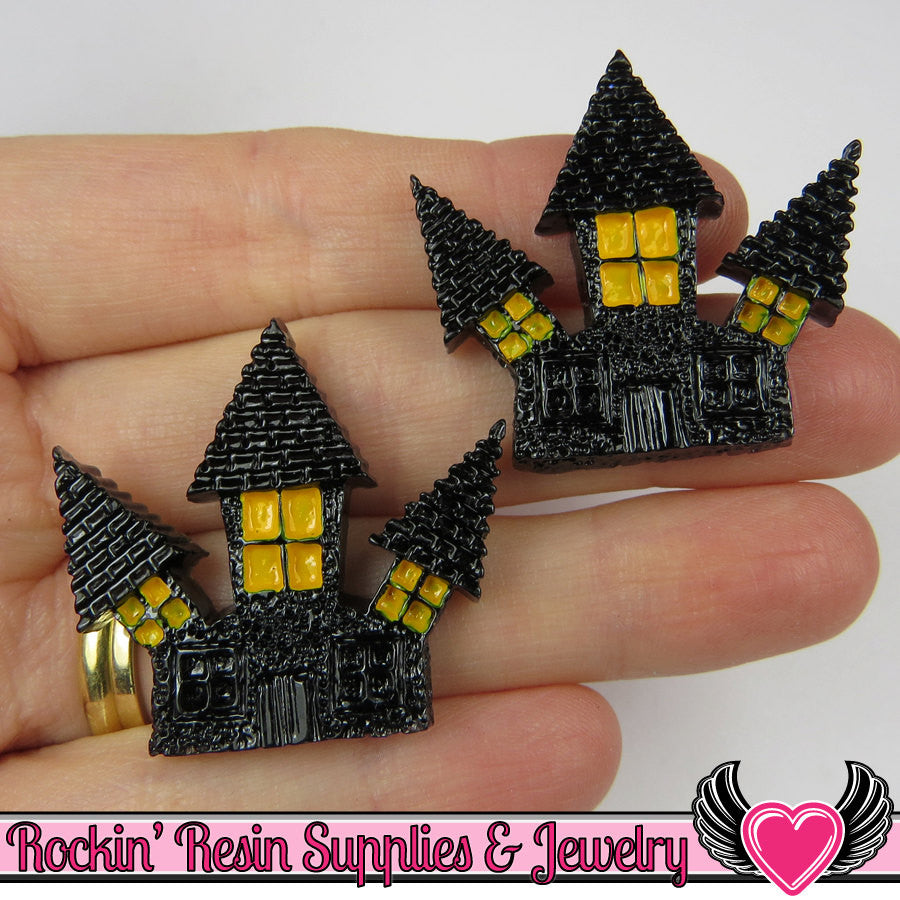 4 pcs HAUNTED HOUSE Halloween Resin Flatback Decoden Cabochons 33x35mm - Rockin Resin