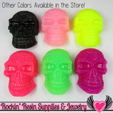50mm XL SKULL Cabochons Light Pink (2 pc) Faux Rhinestone Kawaii Cabochon - Rockin Resin  - 2