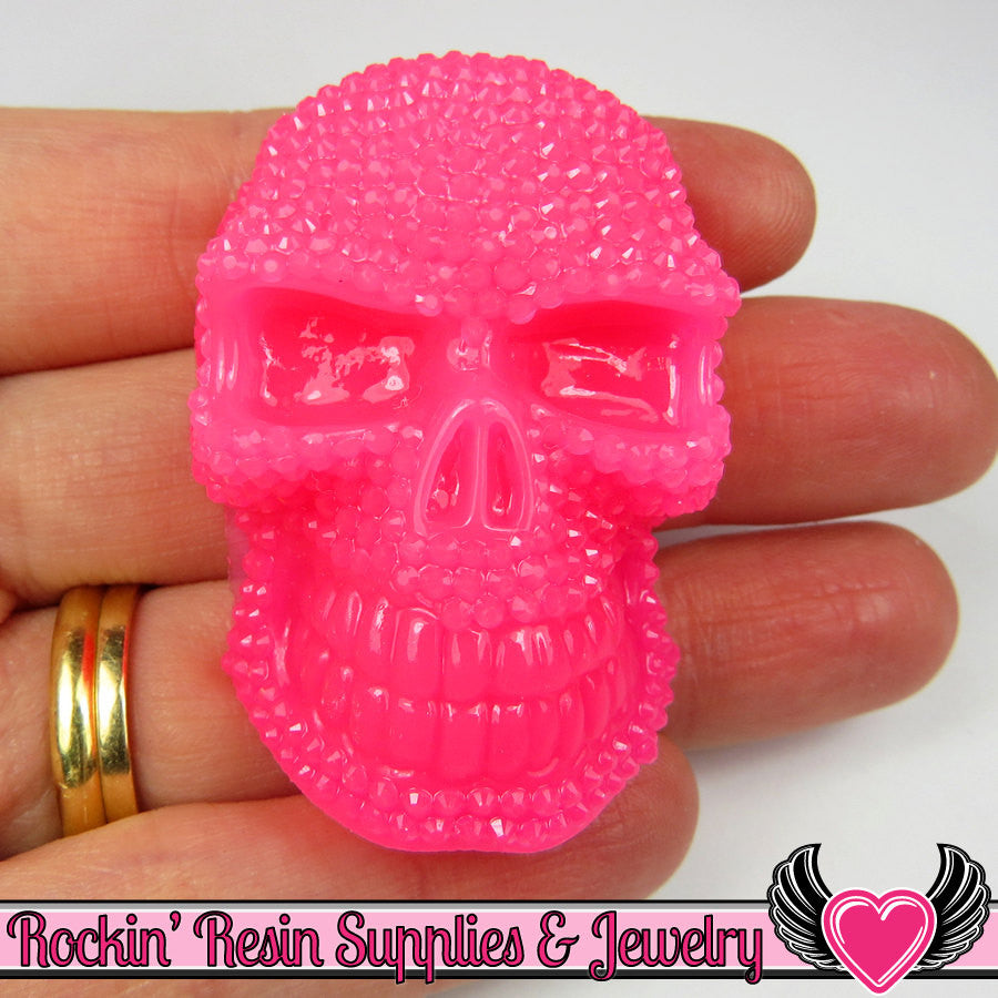 50mm 2 pc XL SKULL Cabochons Hot Pink (2 pc) Faux Rhinestone Decoden Cabochon