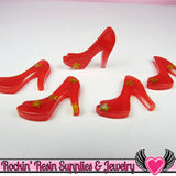 6 pc Red Star HIGH HEEL SHOES Girly Resin Flatback Decoden Cabochon 19x22mm - Rockin Resin  - 2