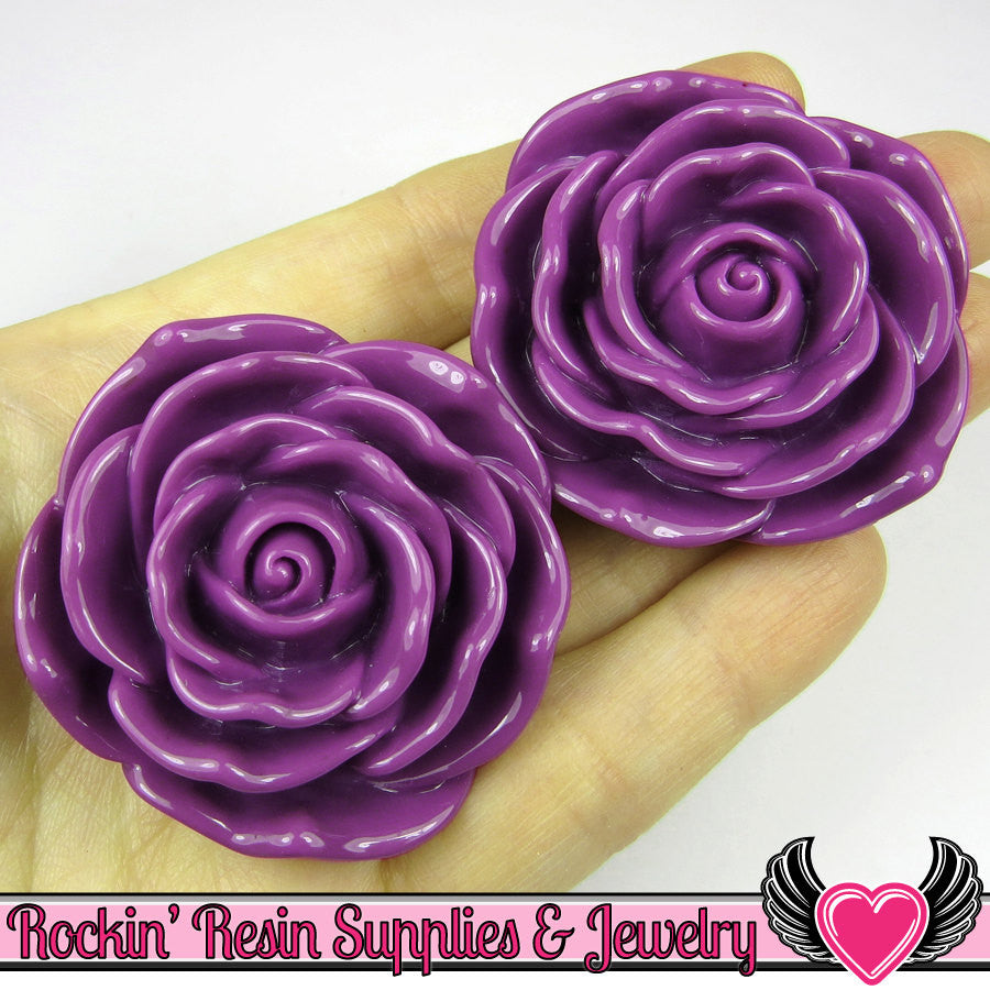 JUMBO ROSE BEADS 45mm Purple Chunky Beads Large Rose Flower Beads (2 Pieces)