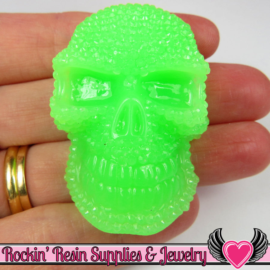 50mm 2pc XL SKULL Cabochons Neon Green (2 pc) Faux Rhinestone Cabochon