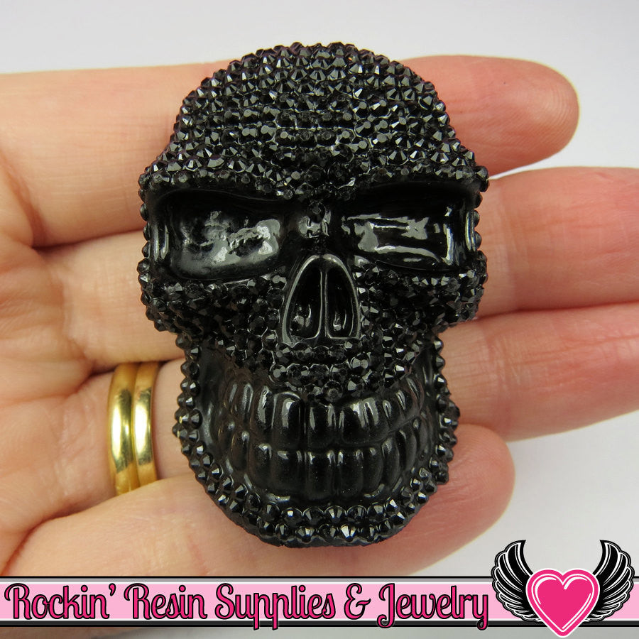 50mm XL SKULL Cabochons Black (2 pc) Faux Rhinestone Kawaii Cabochon - Rockin Resin  - 1