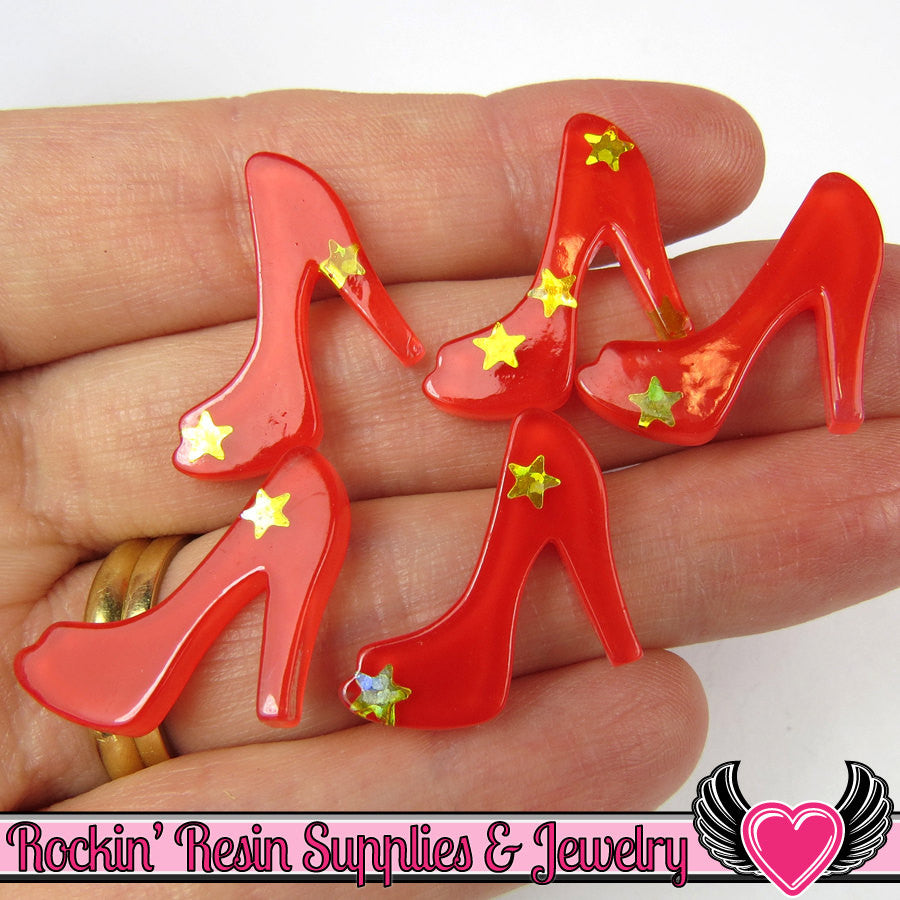6 pc Red Star HIGH HEEL SHOES Girly Resin Flatback Decoden Cabochon 19x22mm - Rockin Resin  - 1
