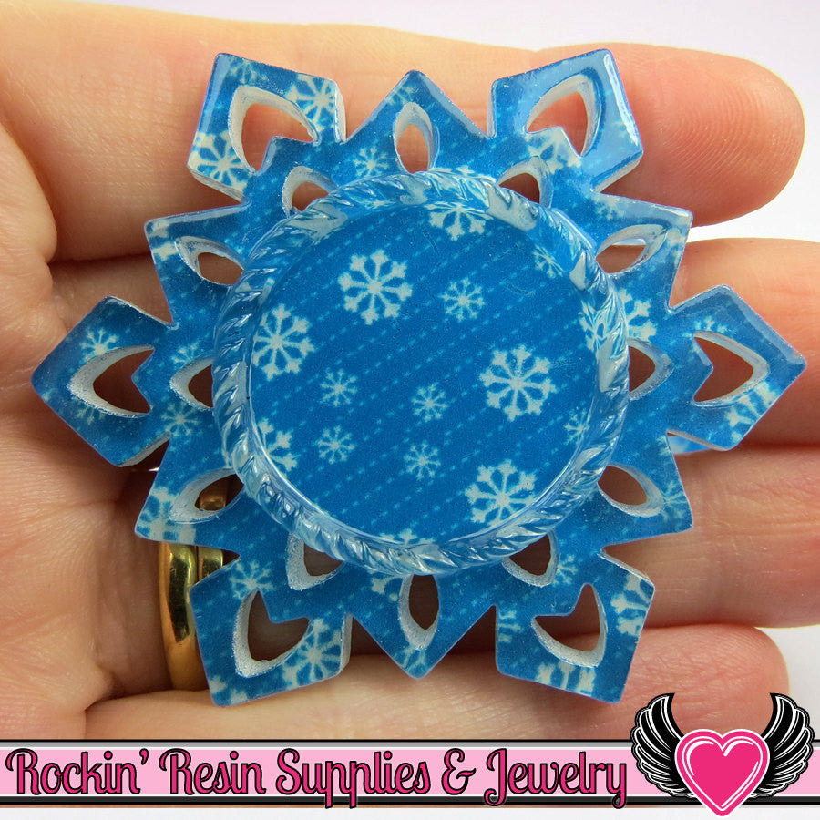 4 pc SNOWFLAKE Print STAR CAMEO SeTTING Fits 25mm Round Cameos - Rockin Resin  - 1
