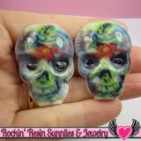 4 pc Creepy SUGAR SKULL Day of The Dead Flatback Decoden Cabochons 41 x 30mm - Rockin Resin