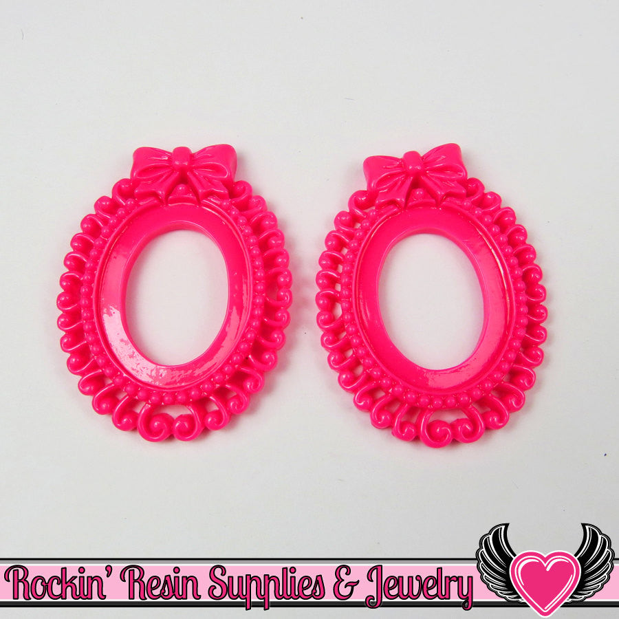 4 pc 25x18mm BOW Swirl Resin Cameo Settings in Hot Pink