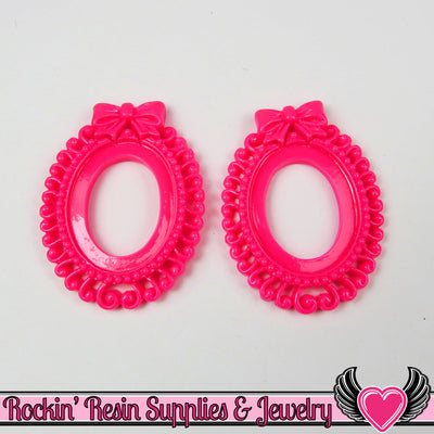 4 pc 25x18mm BOW Swirl Resin Cameo Settings in Hot Pink - Rockin Resin  - 1