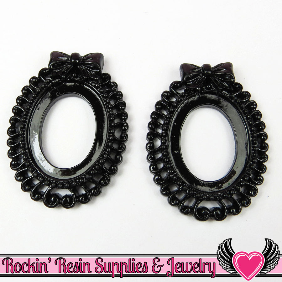 4 pc 25x18mm BOW Swirl Resin Cameo Settings in Black