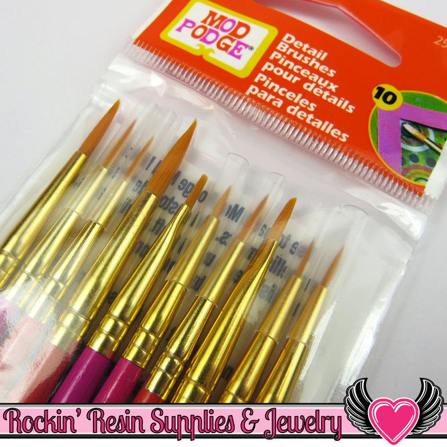 10 DETAIL PAINT BRUSHES by Plaid Mod Podge