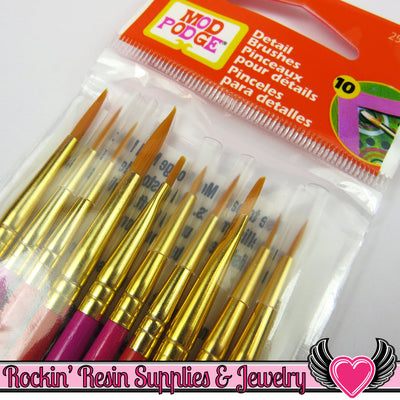 10 DETAIL PAINT BRUSHES by Plaid Mod Podge - Rockin Resin  - 1