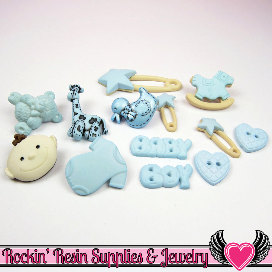 Jesse James Buttons 13 pc BABY BOY Buttons and Flatback Cabochon Embellishments - Rockin Resin  - 1