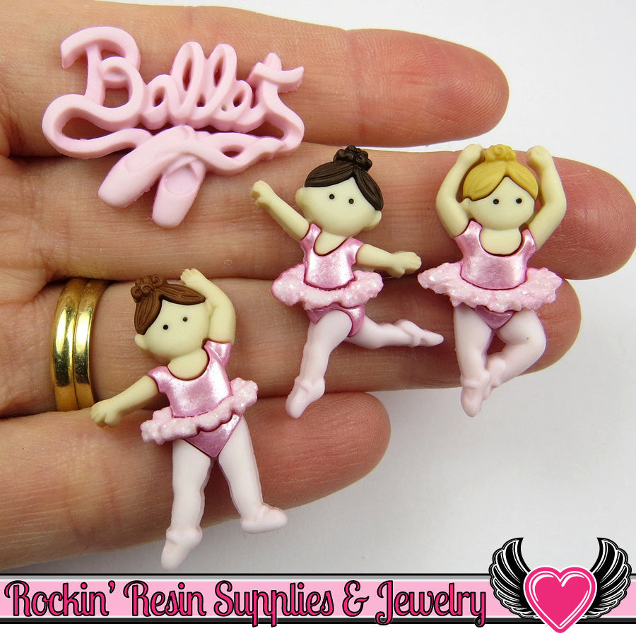 Jesse James Buttons 4 pc LITTLE BALLERINAS Ballet Buttons and Flatback Cabochon - Rockin Resin  - 1