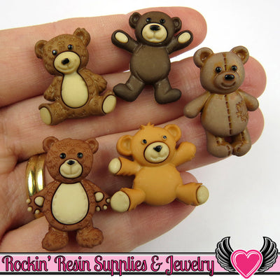 Jesse James Buttons 5pc TEDDY BEAR Stuffed with Love Buttons / Turn them Into Flatback Cabochons - Rockin Resin  - 1