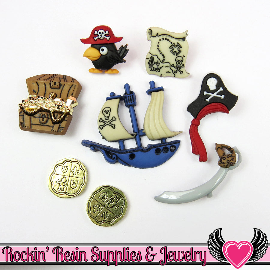 Jesse James Buttons 8 pc PIRATES Buttons and Flatback Cabochons - Rockin Resin  - 1