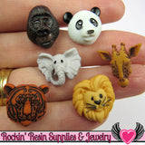 Jesse James Buttons 12 pc ANIMAL WORLD Buttons / Turn them Into Flatback Cabochons - Rockin Resin  - 1