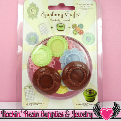 Epiphany Crafts 14mm Inset Bezel Cameo Settings in Tea Room (10 pieces) - Rockin Resin