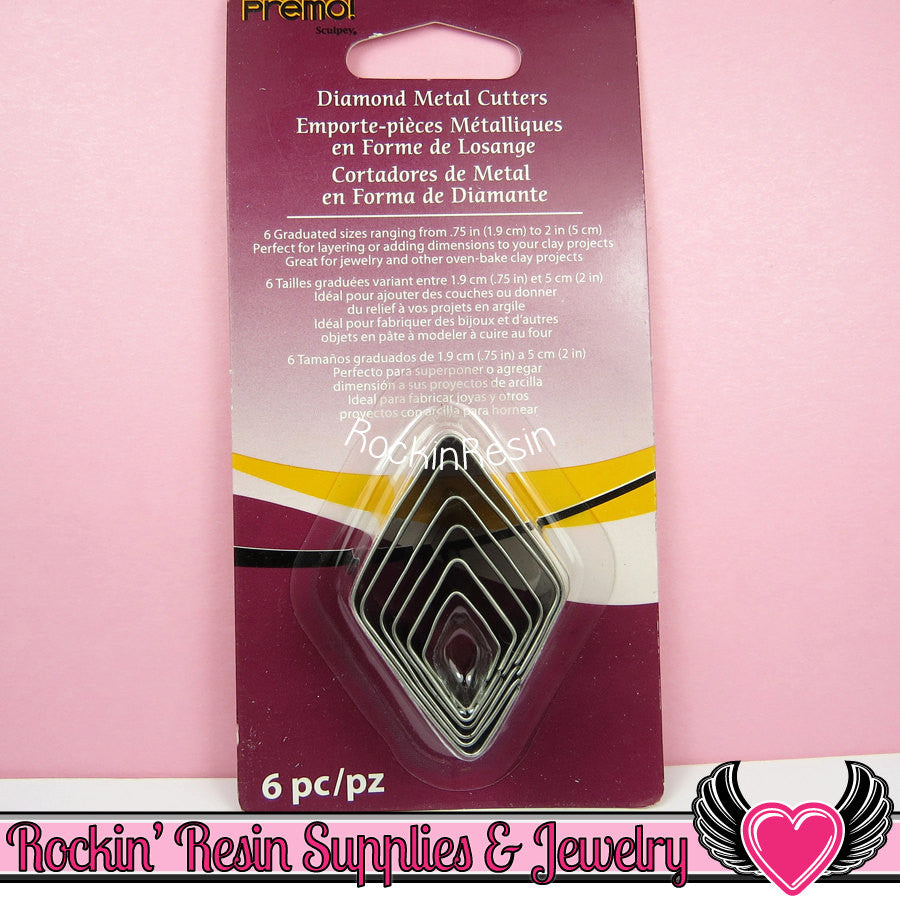 Sculpey Premo 6 DIAMOND SHAPE CUTTERS Polymer Clay Metal Cookie Cutters