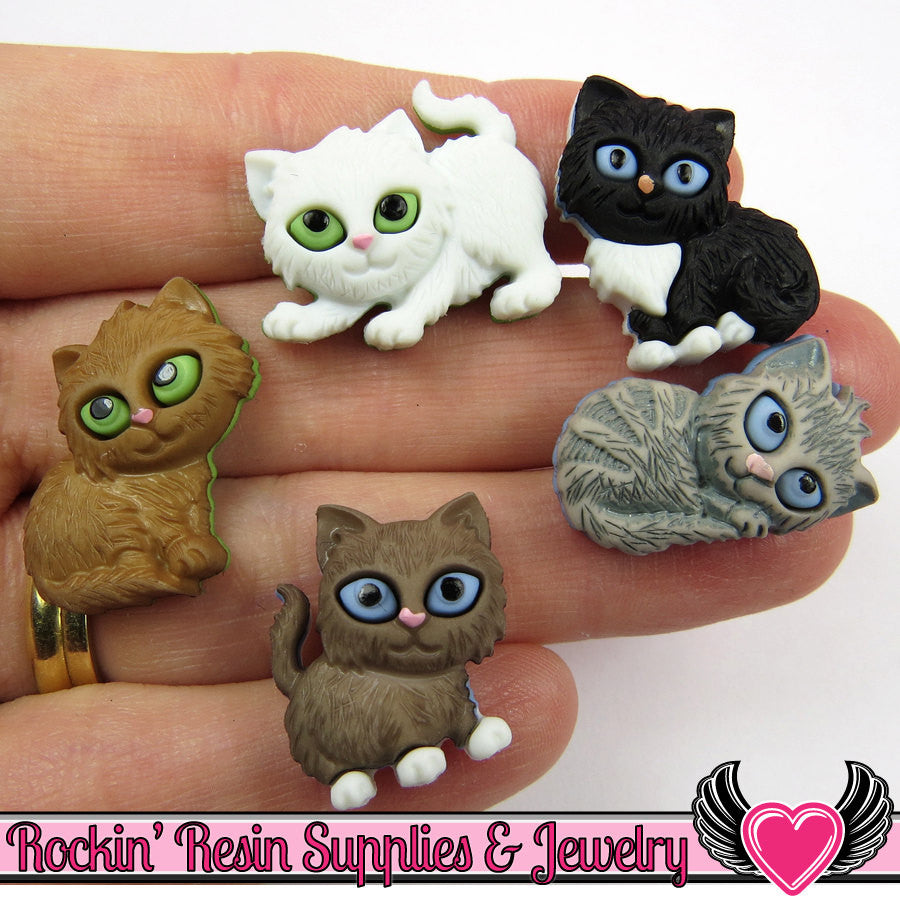 Jesse James Buttons 5 pc KITTEN KABOODLE Cat Buttons / Turn them Into Flatback Cabochons - Rockin Resin  - 1