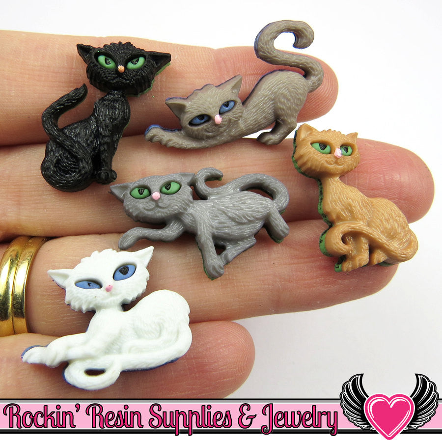 Jesse James Buttons 5 pc NINE LIVES Cat Buttons / Turn them Into Flatback Cabochons - Rockin Resin  - 1