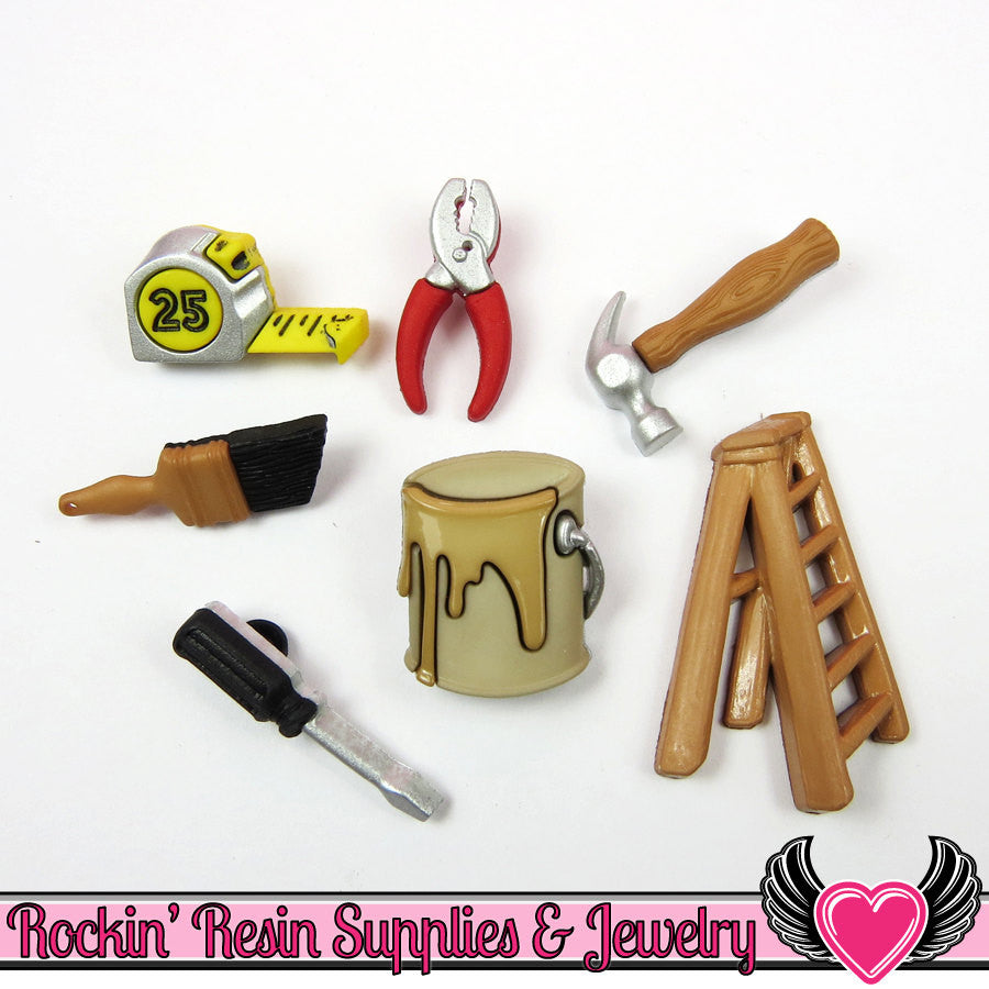 Jesse James Buttons 7 pc DO IT YOURSELF Tool Buttons and Flatback Cabochon Embellishments - Rockin Resin  - 1