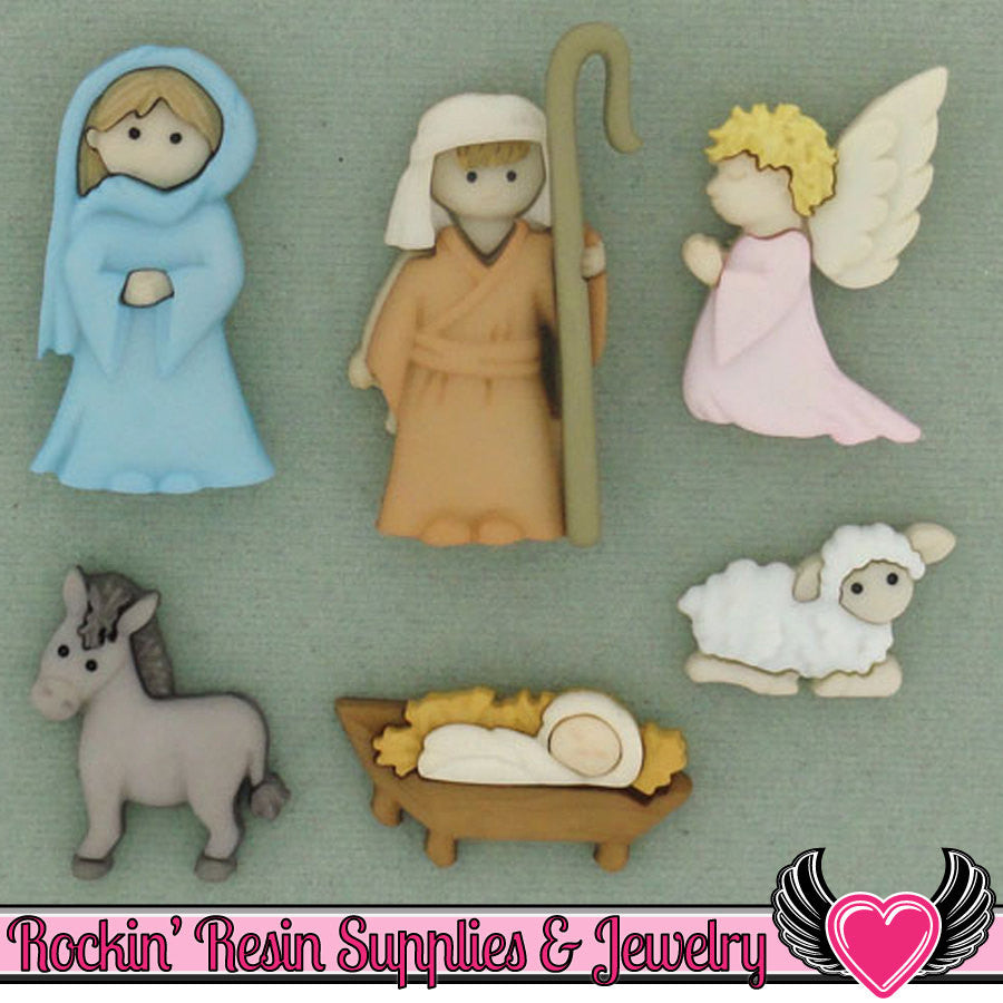 Jesse James Buttons 6pc Christmas Nativity Buttons OR Turn them Into Flatback Cabochons