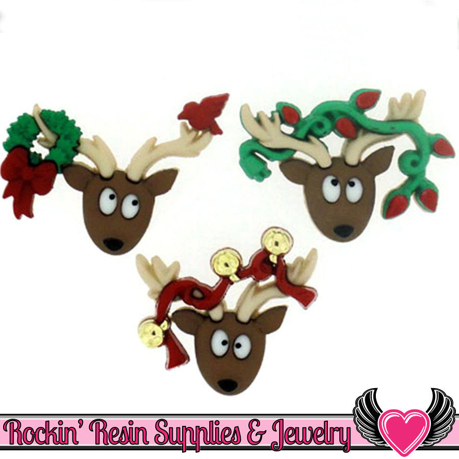 Jesse James Buttons 3pc Christmas REINDEER Buttons OR Turn them Into Decoden Cabochons - Rockin Resin  - 1