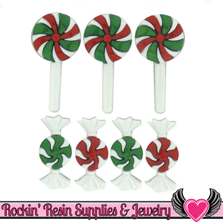 Jesse James Buttons 7pc Christmas Candy Buttons OR Turn them Into Flatback Decoden Cabochons - Rockin Resin  - 1