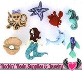 Jesse James Buttons 8 pc MERMAID & Ocean Buttons OR Turn them Into Flatback Decoden Cabochons - Rockin Resin  - 1