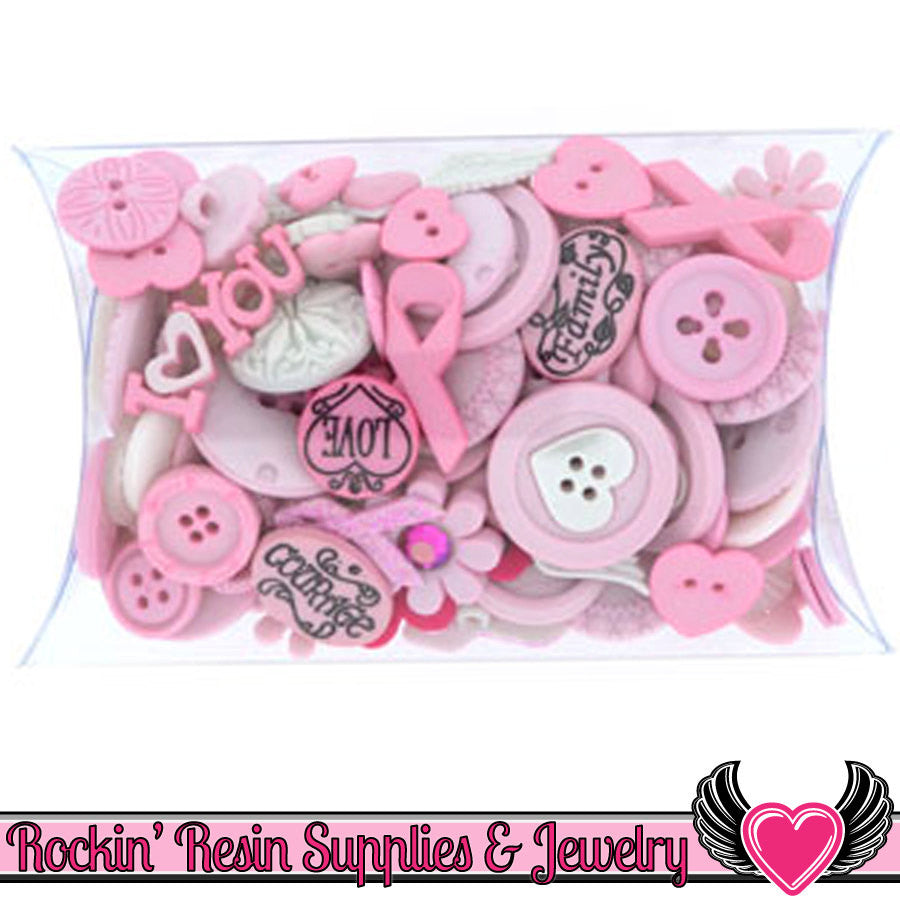 Jesse James BREAST CANCER AWARENESS Pink Ribbon Buttons & Flatback Cabochon Embellishment Grab Bag - Rockin Resin  - 1