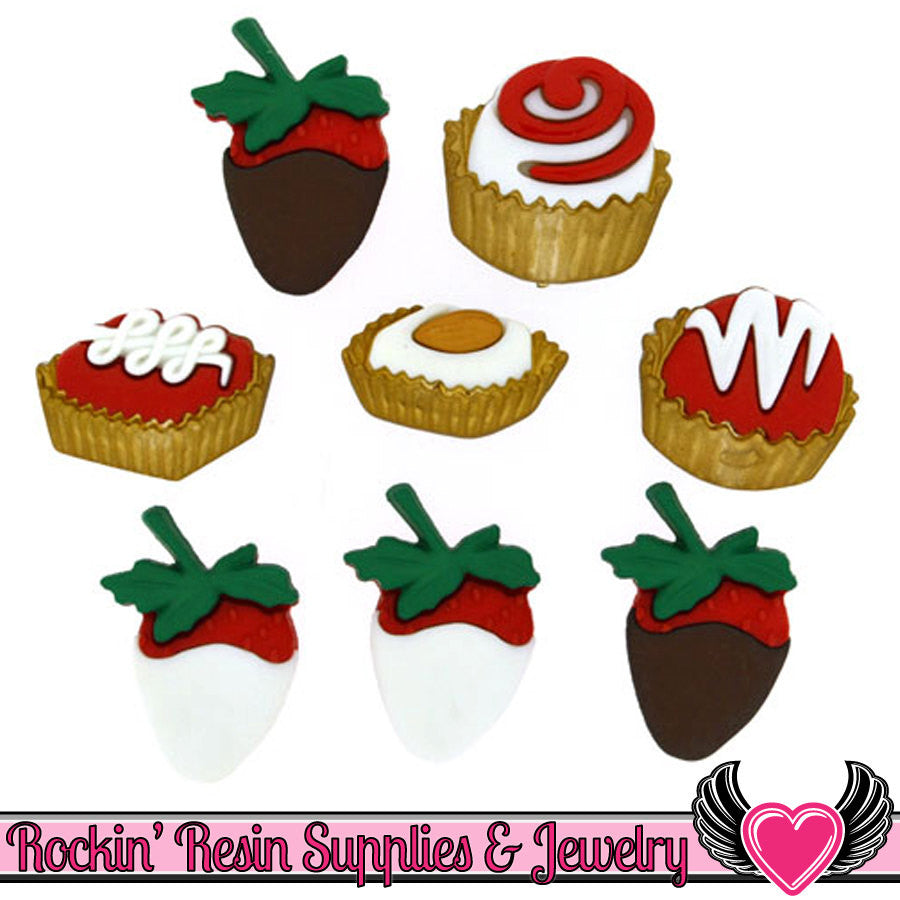 Jesse James Buttons 8 pc CANDY BOX Valentine's Buttons OR Turn them Into Decoden Cabochons - Rockin Resin  - 1