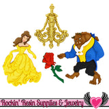 Disney BEAUTY and the BEAST Dress It Up Jesse James Buttons and Rose Flatback Cabochon - Rockin Resin  - 1