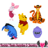 Disney WINNIE THE POOH Dress It Up Jesse James Buttons - Rockin Resin  - 1